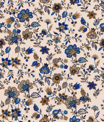 Stylised flowers that shaped with ethnic motifs-blue