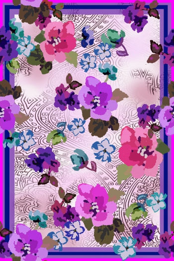 Stylised flowers with ethnic motifs