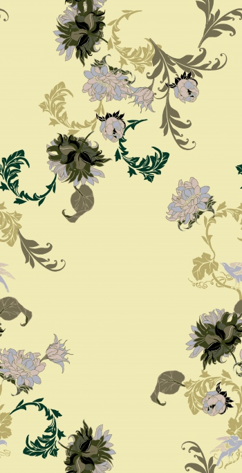 Stylised khaki flowers