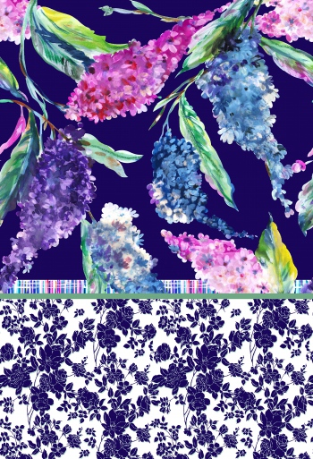 Stylised lilacs and abstract roses.