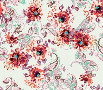 Stylised paisleys and flowers