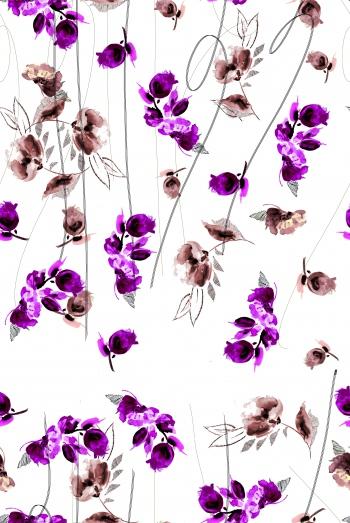 Stylised purple flowers and random lines