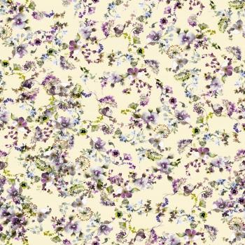 Stylised purple spring flowers