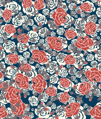 Stylised red and white roses