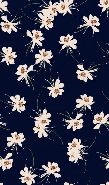 Stylised white floral design