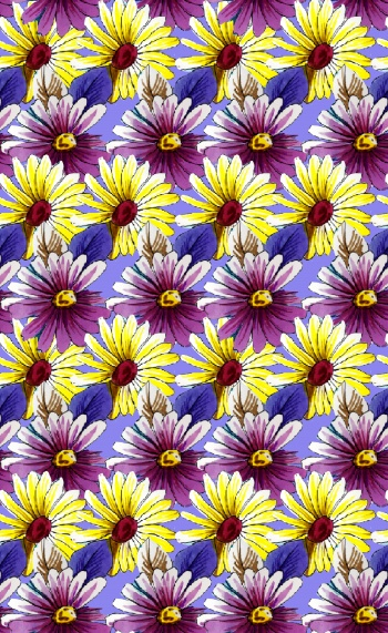 Stylised yellow and purple daisies