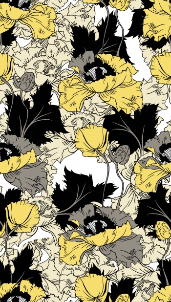 Stylised yellow flowers and black leaves