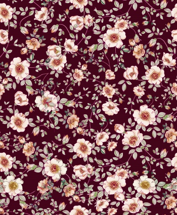 Sweet floral design is on maroon background