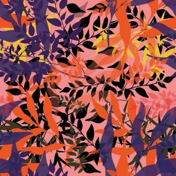 Textured leaves colour block print pattern