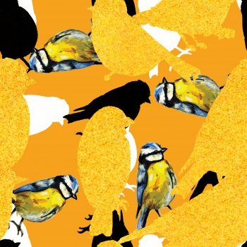 Textured Yellow Birds