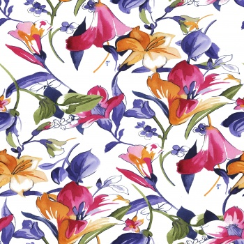 There are two types of flowers that created by watercolor