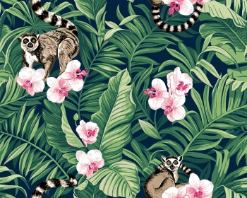 tropical summer pattern with palm leaves lemurs and orchids