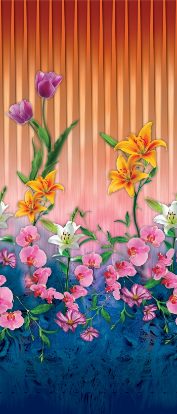 Tulips, lilies and orchids are on special surface.