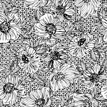 vector pattern black flowers