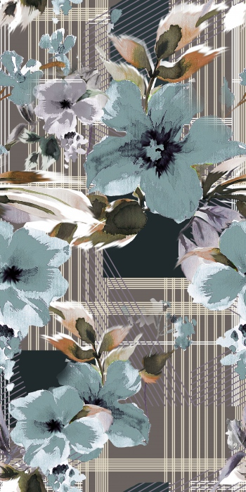 Vertical-Horizontal Stripes and Stylised Flowers