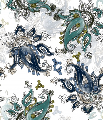 water color Paisley pattern