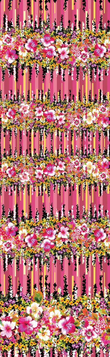 Watercolor Floral Borders and Leaves on Abstract Striped Background