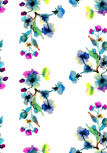 Watercolor flower branches