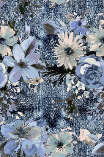 Watercolored Blue flowers and denim background