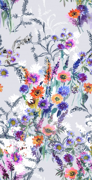 Watercolored colorful daisies