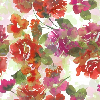 Watercolored effected red flowers