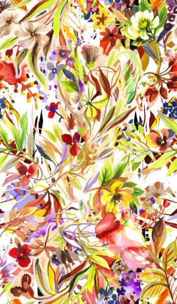 Watercolored foliages and flowers