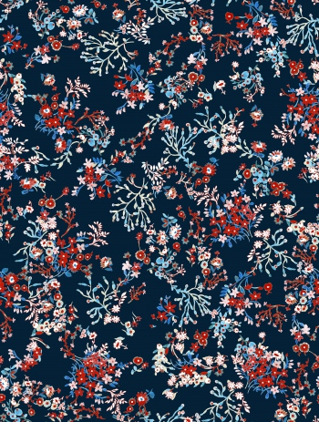 Watercolored foliages and little flowers-Blue and red version