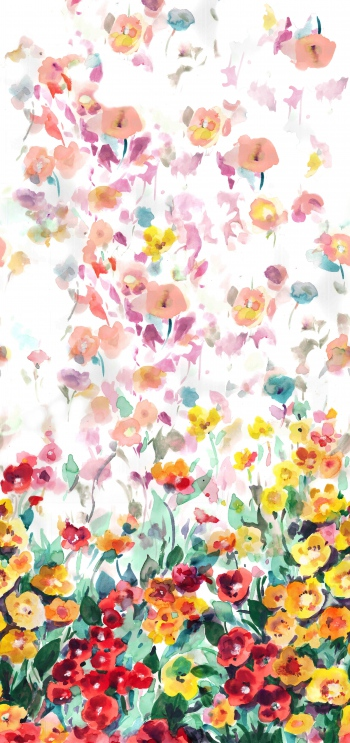 Watercolored fuzy poppies