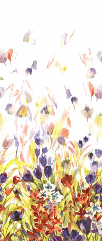 Watercolored fuzy tulips