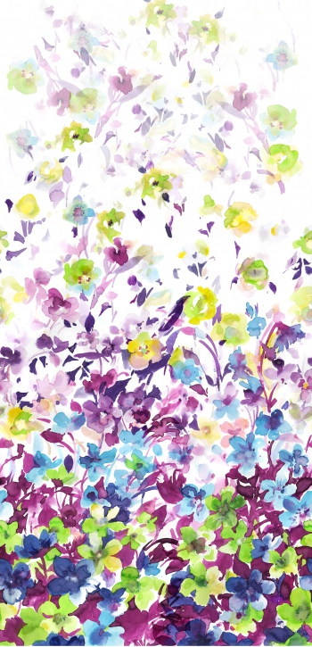 Watercolored green flowers and purple leaves
