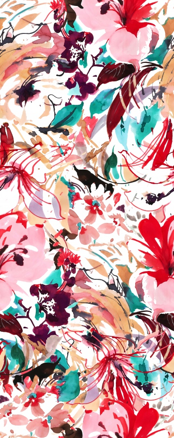 Watercolored mixed floral design
