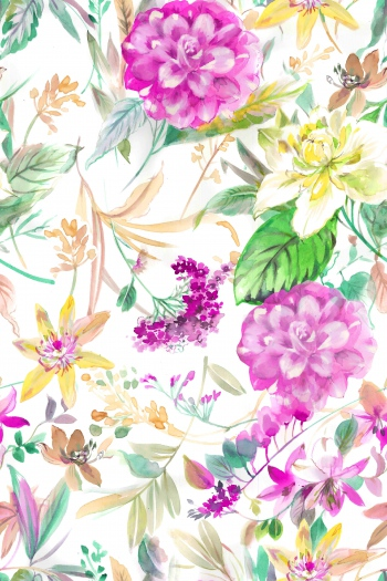 Watercolored pink flowers and foliages