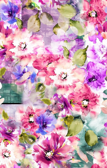 Watercolored pink flowers and leaves are on abstract background