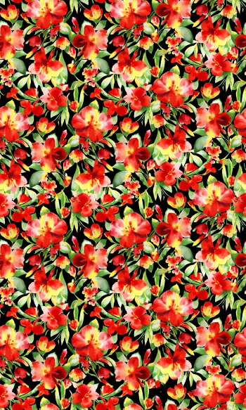 Watercolored red floral design