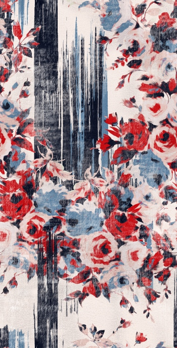 Watercolored red roses and brushstrokes