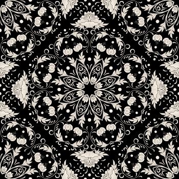 White Ornaments On Black