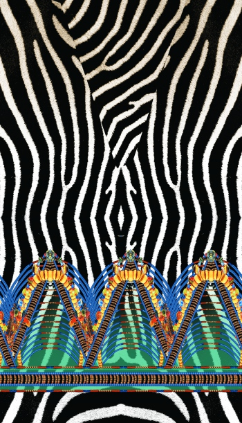 Zebra and decorative elements